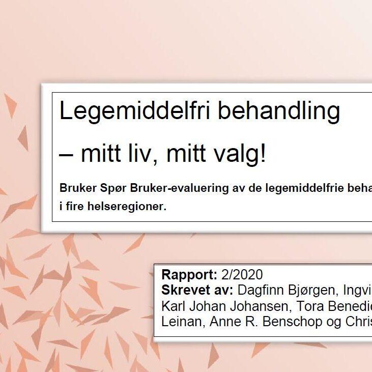 Bilde: utsnitt av forsiden til rapporten om legemiddelfri behandling